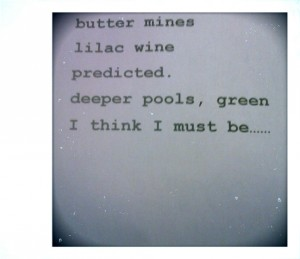 butter mine. photo of verse, sonja benskin mesher, writing.